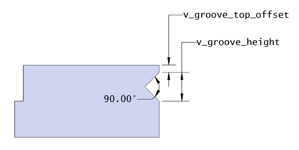 Horizontal v-groove drawing